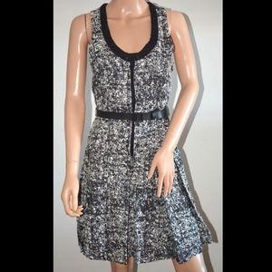 Proenza Schouler black white tweed dress